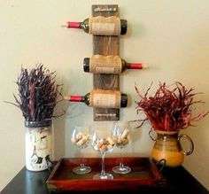 Father's Day Gift  Wine Rack, Pallet Burlap Wine Rack, Unique Wine Rack Wall Rack, Rustic Wine Rack, Wood Wine Rack, Reclaimed Wood,Decor