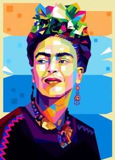 Frida Kahlo by Cholik Hamka Pop Art Portraits, Portrait Art, Kahlo Paintings, Frida Kahlo Artwork, Illustrations, Illustration Art, Linocut Prints, Poster Prints, Cuadros Pop Art