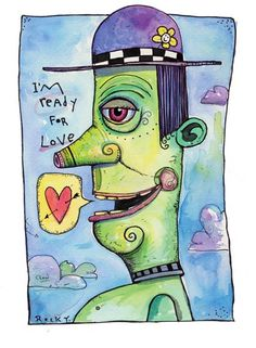 READY FOR LOVE Original Framed Watercolor by by TheArtofJohnDinser, $95.00