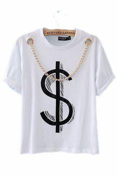 $ Print T-shirt with Chain Necklace