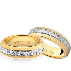 Par de Alianças Ouro Amarelo e Ouro Branco Bride