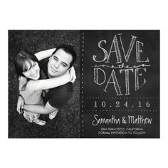 Chalkboard Photo Save the Date Invites