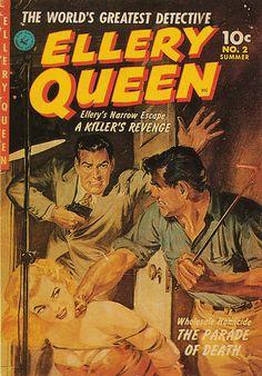 Ellery Queen magazine Summer 1952.  Man hoodlum woman dame tied bound hostage captive kidnap pistol gun pulp cover art noir crime gangster danger rescue