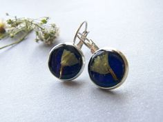 Real Flower Earrings, Blue Resin Earrings, Pressed Flower, Eco Friendly, Eco Earrings, Dainty. £12.50, via Etsy.