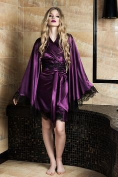 Are you looking for Beige silk satin kimono robe? We are providing Beige color combined with the sleeves and bottom embellished by soft white French lace emphasizes the luxurious feel of the robe. This robe comes with two waist belts. Purple Satin, Silk Satin, Deep Purple, Satin Dressing Gown, Silk Kimono Robe, Satin Sleepwear, Nightwear, Beautiful Lingerie, Models