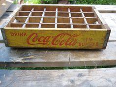 Vintage 1967 Chattanooga Yellow Coca Cola Wood Soda Pop Case Crate 24 Dividers | eBay