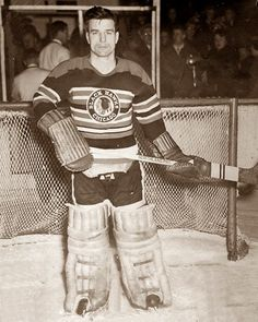 Goalie Frank Brimsek played 10 seasons in the NHL for the Boston Bruins and Chicago Black Hawks. He won the Calder Memorial Trophy and the Vezina Trophy twice, and was named to the NHL All-Star Team eight times. Women's Hockey, Hockey Games, Hockey Players, Hockey Highlights, Goalie Mask, Tim Hortons, Toronto Maple Leafs, Boston Bruins, Chicago Blackhawks