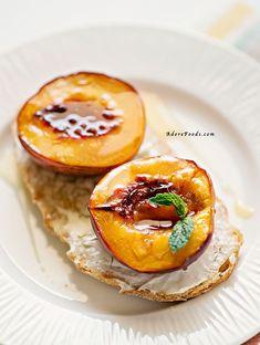 Juicy Roasted Nectarine Breakfast Bruschetta | www.adorefoods.com