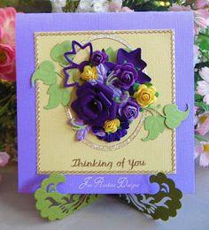 Marianne Design Flower Card by Jan Rankine Marianne Design, Flower Cards, Diy Cards, Cardmaking, Greeting Cards, Paper Crafts, Scrapbook, My Love, Frame
