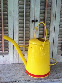 Vintage Yellow Enamel Watering Can.