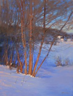 """Sticks and Snow"" © 2014 Barbara Jaenicke, oil, 24x18"""