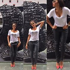 Angela Simmons - white tee, leather pants and red pumps                                                                                                                                                     More