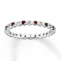 Stackable Garnet Ring 1/20 ct tw Diamonds Sterling Silver. baby's birthstone