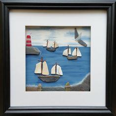 Tall Ships Pebble Art Picture Sea Pottery от CornishPebbleArt