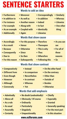 Sentence Starters: Useful Words and Phrases You Can Use As Sentence Starters - E. Sentence Starters: Useful Words and Phrases You Can Use As Sentence Starters - ESL Forums - - Quotes Essay Writing Skills, Book Writing Tips, Writing Words, Teaching Writing, Academic Writing, Dissertation Writing, Essay Words, Teaching Grammar, Study Skills