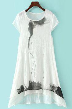 Ink Print Asymmetrical Short Sleeve Dress
