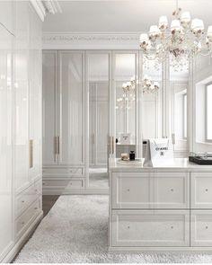 All white closet. Yes or no? Walk In Closet Design, Bedroom Closet Design, Home Room Design, Master Bedroom Closet, Closet Designs, Home Interior Design, Bedroom Decor, Master Bedroom Wardrobe Designs, Dream Home Design