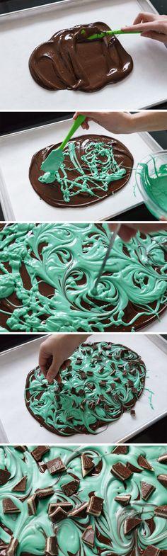 Easy 3-Ingredient Mint Chocolate Swirl Bark