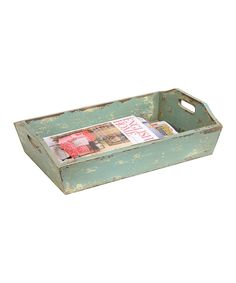 Another great find on #zulily! Green Distressed Wood Tray by Creative Co-Op #zulilyfinds