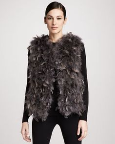 Dyed Turkey Feather Vest, Gray by Trilogy at Neiman Marcus.