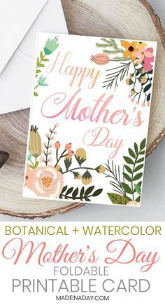 Beautiful Botanical Foldable Mother S Day Card Printable With
