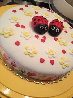 handmade, sugarpaste, fondant, flower, heart, ladybug