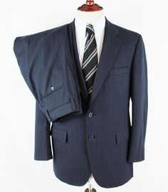 HART SCHAFFNER MARX 2 Pc Suit Mens Navy Pinstripe 40R Heritage Cloth Escondrille #HartSchaffnerMarx #TwoButton