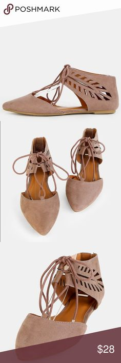 BRAND NEW * FAUX SUEDE TAUPE FLATS Tribal inspired and oh so feminine, the Faux Suede Cut Out Flats feature a pointy toe, faux suede upper, geometric inspired cut outs and a lace up design. Finished with a flat heel. Pair with a flouncy skirt and a crop top! Shoes Flats & Loafers