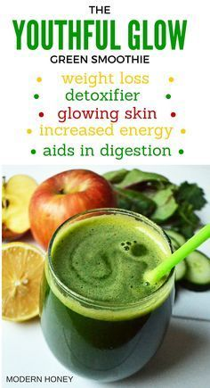 Youthful Glow Green Smoothie by Modern Honey is packed with vitamins and minerals that will make your body feel amazing. It detoxifies the body clears the skin increases energy aids in digestion and helps with weight loss. It is refreshing with a touc Smoothies Detox, Green Detox Smoothie, Green Smoothie Recipes, Weight Loss Smoothies, Healthy Smoothies, Healthy Drinks, Green Smoothies, Smoothie Diet, Energy Smoothie Recipes