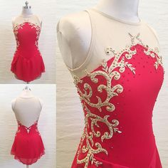 Red Dress w/ Embroidered Gold Appliqué -Add pink short sleeves. Like beauty & the beast style Figure Skating Outfits, Figure Skating Costumes, Figure Skating Dresses, Girls Dance Costumes, Dance Outfits, Dance Dresses, Hight Light, Skate Wear, Women's Fashion Dresses