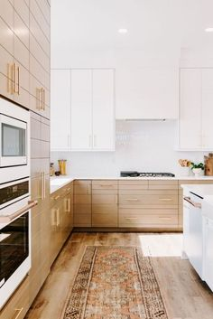 Quick Guide: 5 Beautiful Backsplash Tiles for White Kitchens, modern kitchen design with flat modern cabinets and boho runner, Interior Modern, Home Interior, Kitchen Interior, Kitchen Decor, Kitchen Ideas, Coastal Interior, Eclectic Kitchen, Interior Design, Kitchen Modern