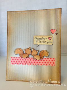 "Sweet Squirrel Valentine card by Samantha Mann for Newton's Nook Designs! Uses the ""Sweetheart Tails"" stamp set!"