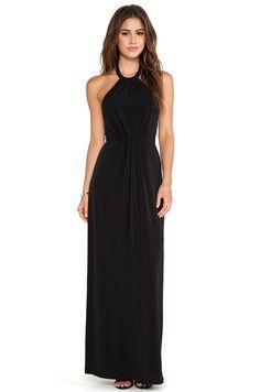 Bobi BLACK LABEL Maxi Halter Dress in Black |