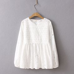Online Shop 2019 Spring Autumn Sweet Blouse Women Embroidery Cotton Linen Shirt Hollow-out Long Sleeve Female Tops Mori girl Frock Fashion, Girl Fashion, Fashion Dresses, Blouse Outfit, Eyelet Lace, Muslim Fashion, Stylish Dresses, Blouse Designs, Blouses For Women