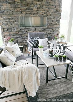 Spring Outdoor Living Space with Farmhouse Style In love with this patio set. Grey furniture is perf!