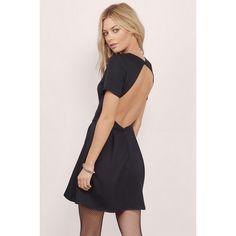 Tobi Paloma Backless Skater Dress ($60) ❤ liked on Polyvore featuring dresses, black, black backless dress, kohl dresses, backless skater dress, backless dress and open back skater dress