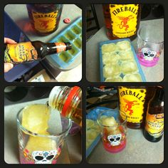 Angry orchard apple cider ice cubes + fireball poured on top= best drink ever! ! [Creator: Carlee maglietto]