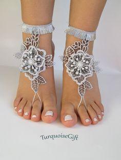 Beach wedding barefoot sandals silver flowerboho by TurquoiseGift
