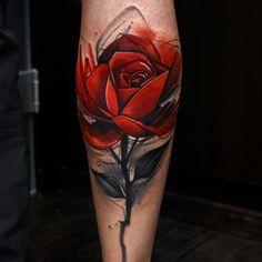 calf tattoo red rose