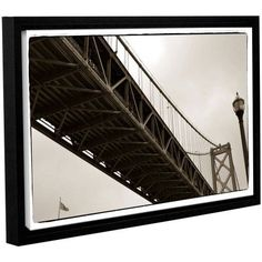 ArtWall Kevin Calkins Bay Bridge and Lightpole Gallery-Wrapped Floater-Framed Canvas, Size: 16 x 24, White