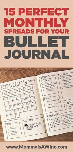 15 Monthly Spreads for your Bullet Journal 15 Perfect Monthly Spreads for your Bullet Journal - Monthly Bullet Journal Spreads Bullet Journal Events, Bullet Journal Agenda, Bullet Journal Spreads, Bullet Journal Monthly Spread, Bullet Journal Printables, Bullet Journal How To Start A, Bullet Journal Inspo, Bujo Monthly Spread, Bullet Journal Ideas For Work