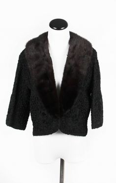 Vintage Ribbon Embroidered Jacket with Mink Collar   Despy