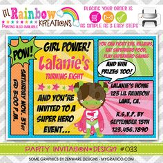 033 DIY Super Hero 3 Party Invitation Or Thank by LilRbwKreations