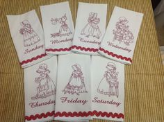 My designs from Sue's Simple Life in redwork also available in multi color line work on same CD