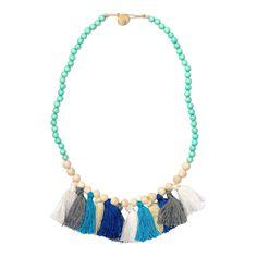 Wood Tassel Necklace - Pastel Turquoise