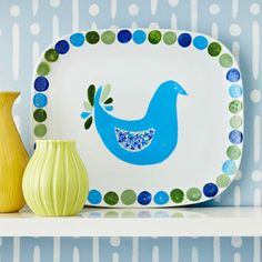 Painted Ceramic Serving Platter    Whether it's used for serving or for a fun display, this pretty Christmas gift will brighten any kitchen. Create a colorful motif around the edges of a purchased platter with ceramic paints or porcelain paint pens, then sketch and paint a fun shape in the center. Many ceramic paints require baking to set the colors, so be sure to read the packaging instructions before you start the project.    Editor's Tip: Make it easy and use a stencil for the center shape.
