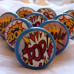 Items similar to Pop Art Drawer Knobs, Pop Art Cupboard Knobs, Comic Dresser Pulls,Comic Drawer Knobs. Kids Decor, on Etsy Cupboard Door Knobs, Dresser Knobs, Knobs And Handles, Knobs And Pulls, Painted Chest, Hand Painted, Pop Art, Retro Pop, Vintage Carnival