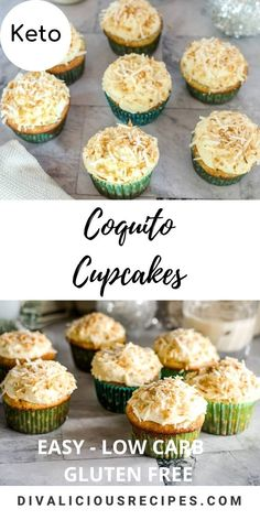 Low carb cupcakes are baked with a sugar free coquito liquor with a coquito frosting for an indulgent holiday treat.