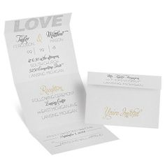 Love in all its glory! This sensational seal and send wedding invitation features 'LOVE' like sparkling diamonds above your names and wording. The ampersand between your names appears like glittering gold against this light gray invitation. Your wording is printed in your choice of colors and fonts. Seal and send invitations feature a perforated response card printed with your return address on one side and your response wording on the other. Guests fill out the card, remove it and return it…
