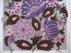 Картина панно рисунок Квиллинг Шоколадно-сиреневое панно Бумажные полосы Картон Клей фото 4